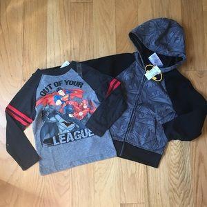 NWT Batman Hoodie And superhero tee